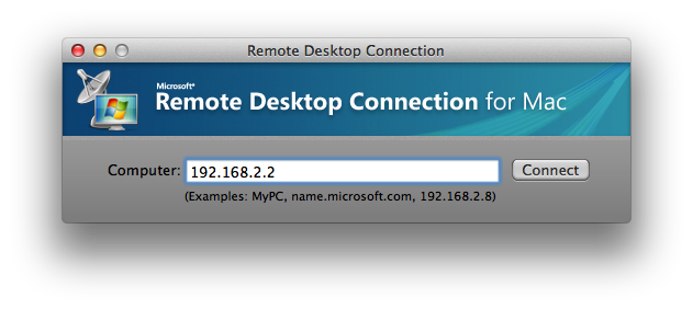 Remote Desktop Connection for Mac startup screenshot.