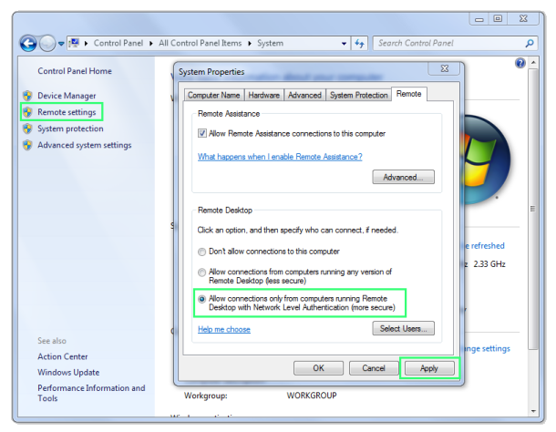 Windows 7 Remote Settings control panel screenshot.