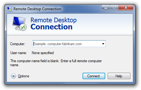 Windows 7 Remote Desktop Connection window screenshot.