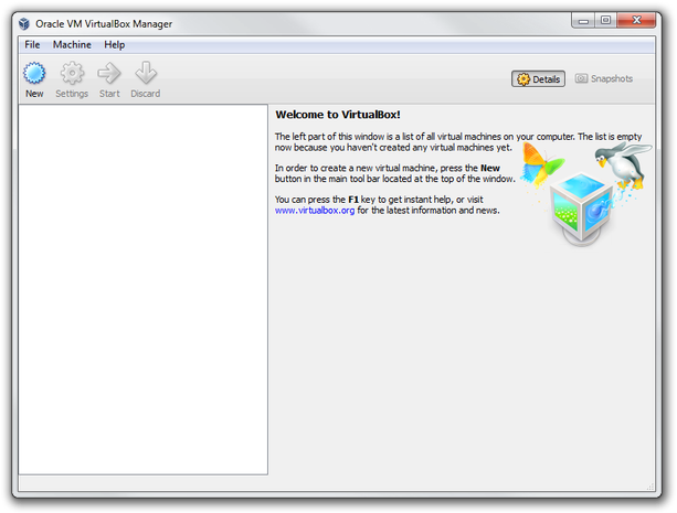 Virtual Box Manager main window