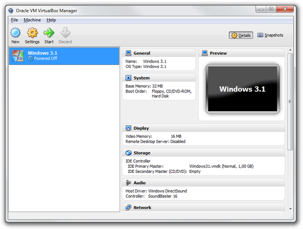 VirtualBox main window start virtual machine