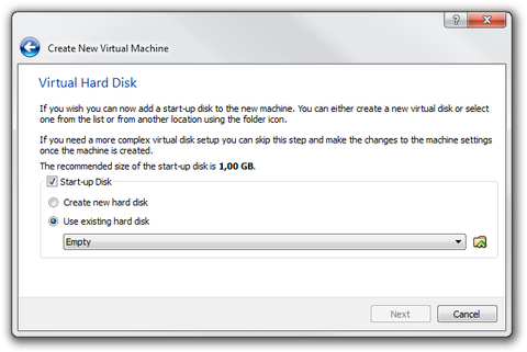 VirtualBox Wizard virtual hard disk settings