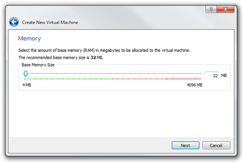 VirtualBox Wizard amount RAM