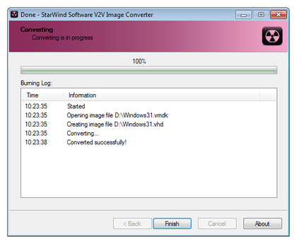 Starwind Software V2V image converter conversion finished