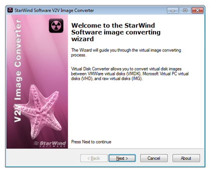 Starwind Software V2V image converter main window