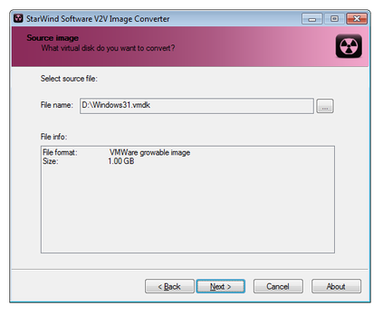 Starwind Software V2V image converter select source file