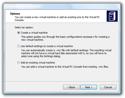 Microsoft Virtual PC Wizard new virtual machine