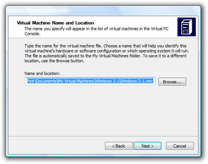 Microsoft Virtual PC Wizard name and location