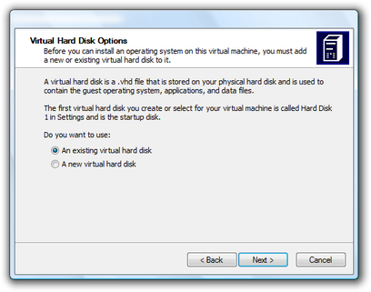 Microsoft Virtual PC Wizard virtual hard disk options