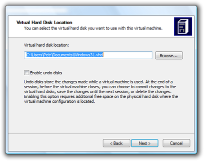 Microsoft Virtual PC Wizard virtual disk location