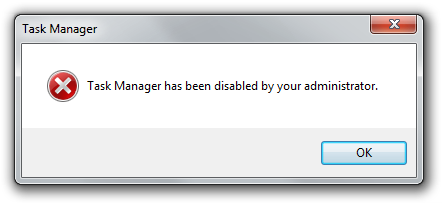 Task Manager has been disabled by your administrator.