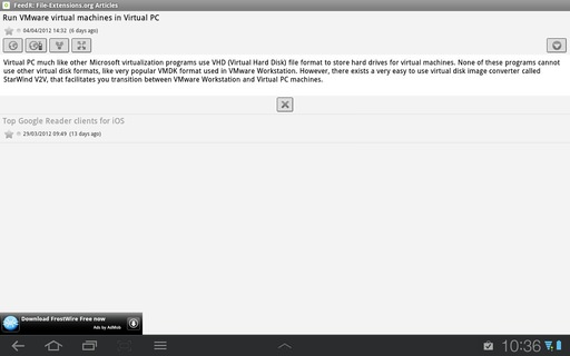 FeedR News Reader on Android 3.1 Honeycomb