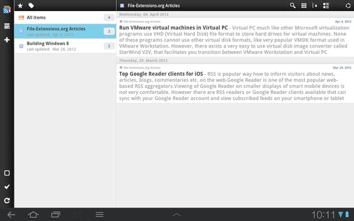 gReader on tablet with Android 3.1 Honeycomb