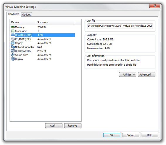VMware Player virtual disk settings