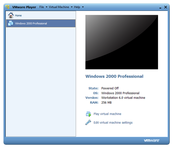 VMware Player main window