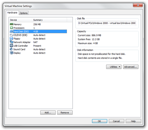 VMware Workstation disk settings