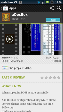 aDosBox in Google Play Store