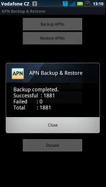 APN Backup Restore backup finished