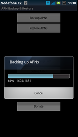 APN Backup Restore backup progress