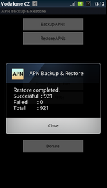 apn backup restore restoring finished