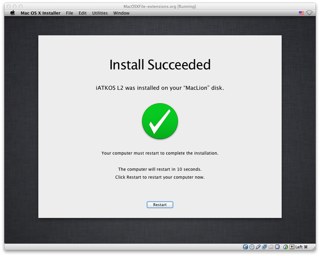 Mac OS X Install Succeeded