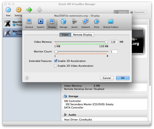 VirtualBox virtual machine settings