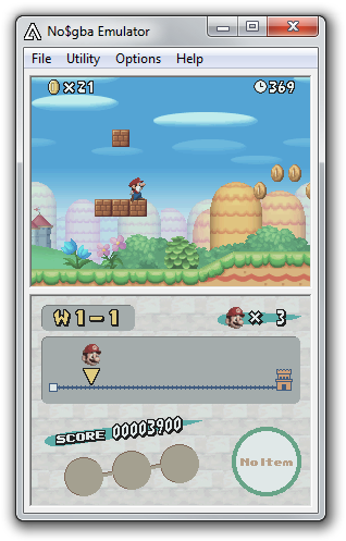 No$gba emulator in action.