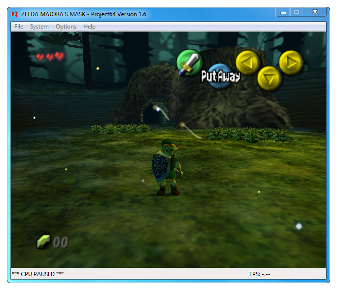 Zelda Majora's Mask Nintendo 64 game emulated in Project64 program.