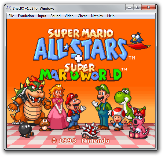 Screenshot of Super Mario All Stars + Super Mario World video game emulated using Snes9x.