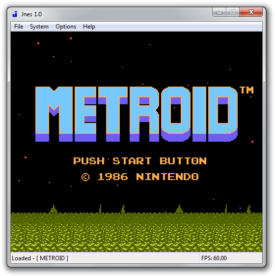 Metroid 1986 emulated in Jnes.
