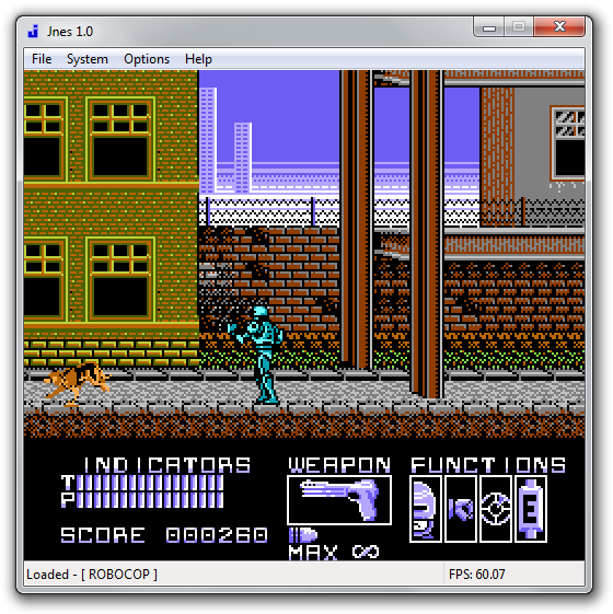 Robocop 1987 game emulated using Jnes.