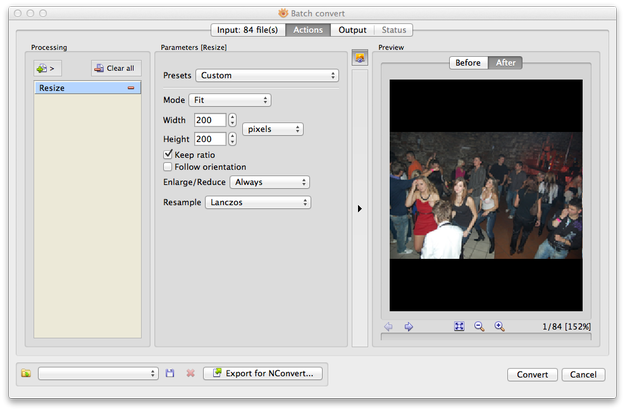 XnView MP for Mac resize settings