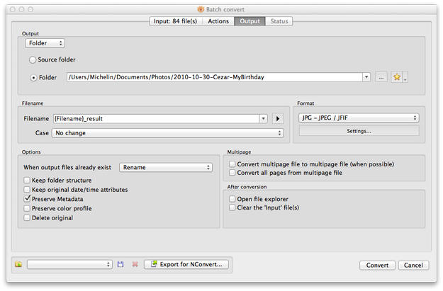 XnView MP for Mac batch processing Output settings