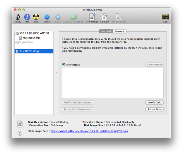 Apple Disk Utility open Mountain Lion installation image