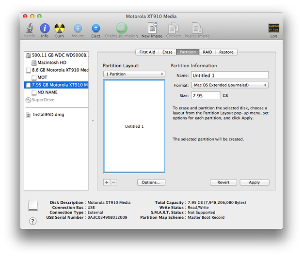 Apple Disk Utility select flash disk