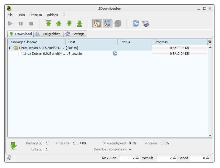 JDownloader screenshot.