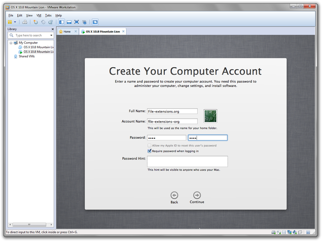 VMware setup of Mac OS X