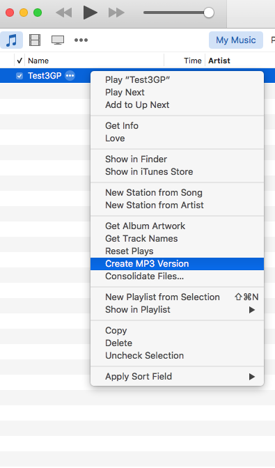 Easily converting 3GP file to MP3 in iTunes.