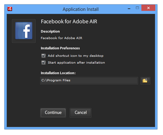 Adobe Air installation process