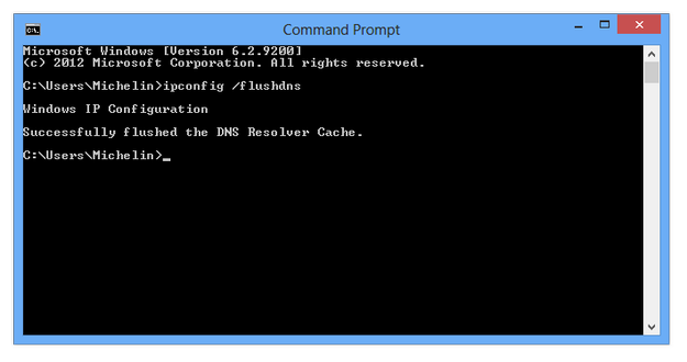 Windows Command Line flush DNS cache command