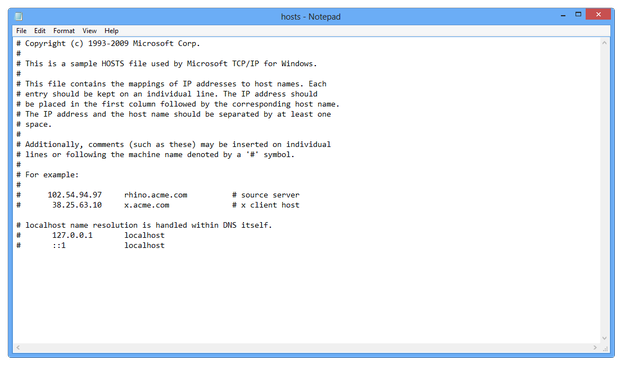 Windows Notepad editing hosts