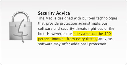 Apple Security warning for Mac.