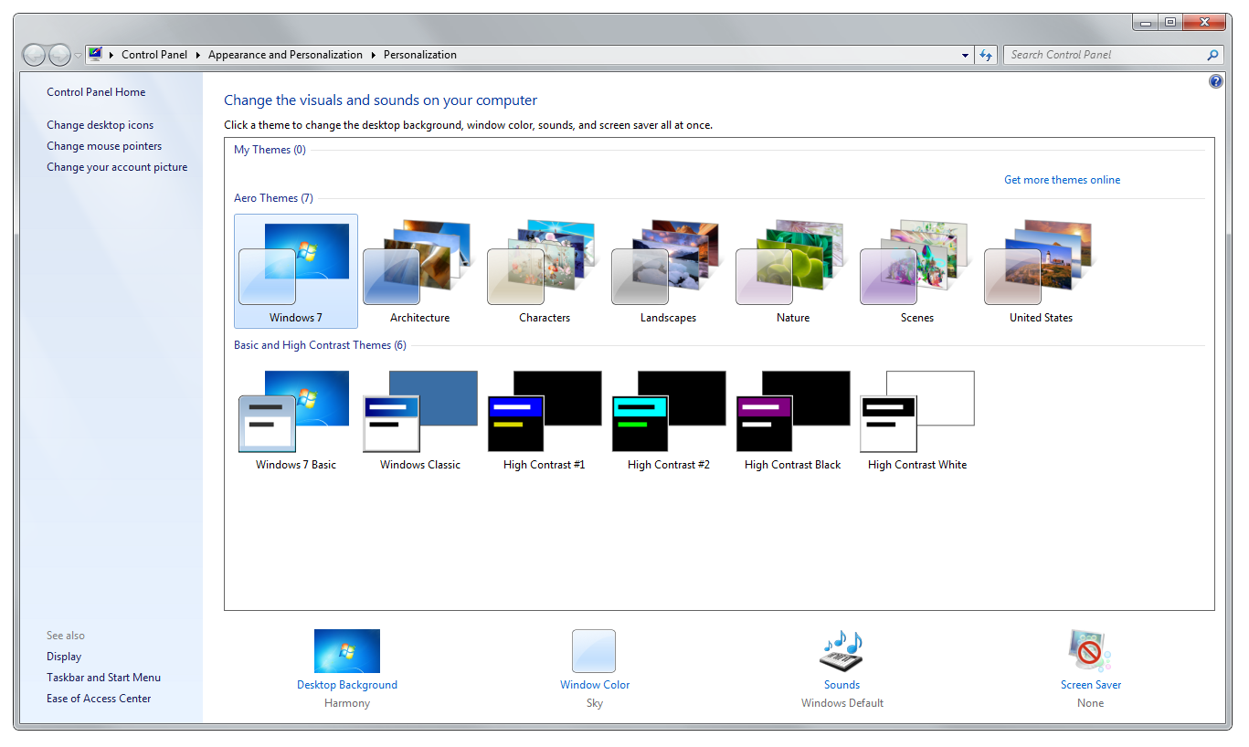 Windows 7 personalize control