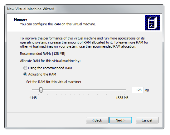 Virtual PC wizard memory settings
