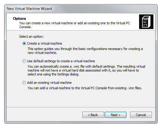 Virtual PC Wizard create a new virtual machine