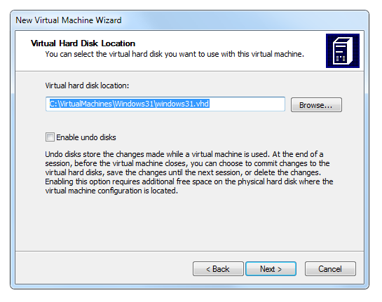 Virtual PC wizard hard disk location