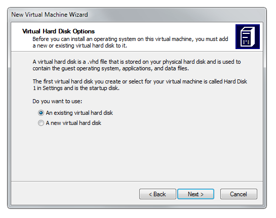 Virtual PC wizard hard drive settings