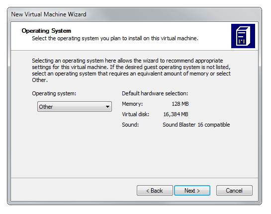 Virtual PC wizard operating system specification