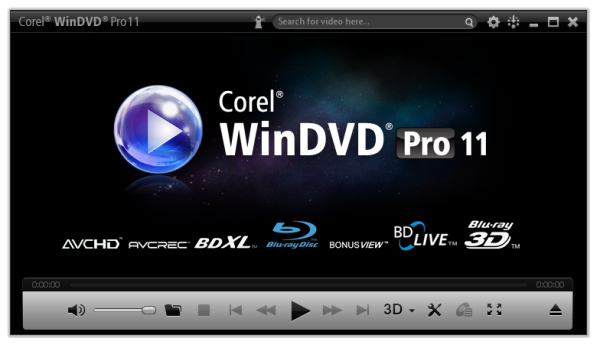 Corel WinDVD media player