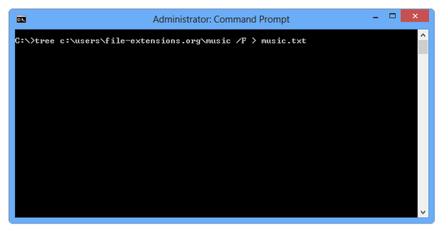 Windows command prompt tree command with file list